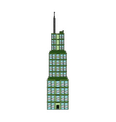 Drawing building skyscraper commercial antenna vector