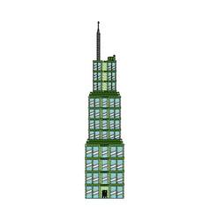 Drawing building skyscraper commercial antenna vector