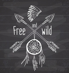 dream catcher and crossed arrows tribal legend vector image