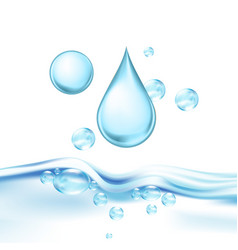 Falling mineral water drop and air bubbles vector