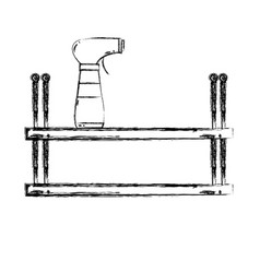 Figure shelf with spray bottle to clean vector