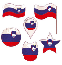 flag of the slovenia performed in defferent shapes vector image