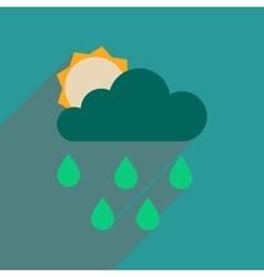 Flat web icon with long shadow sun clouds rain vector