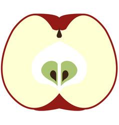 Fresh apple fruit half cut flat isolated vector