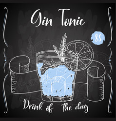 Gin tonic cocktail hand drawn drink on white vector