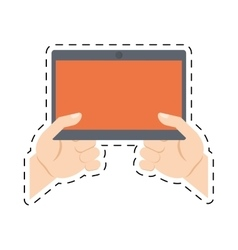Hands holding tablet technology online shopping vector
