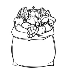 Harvest of bag with seasonal fruits vector