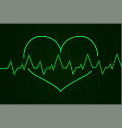 heartbeat cardiogram graph green line in heart vector image