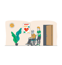 Help old disabled people in nursing home young vector