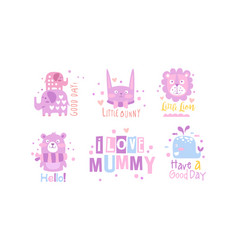 i love mummy childish prints collection baby vector image