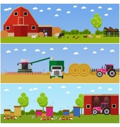 in flat style Set of farming vector image