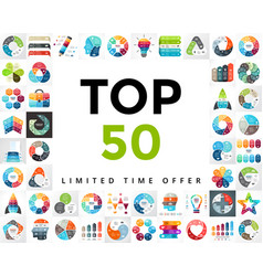 infographics set top 50 business diagrams vector image