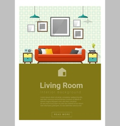Interior design Modern living room banner 4 vector image