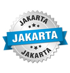 Jakarta round silver badge with blue ribbon vector