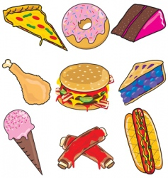 junk food elements and icons vector image