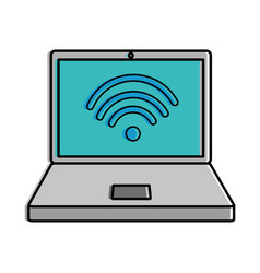 laptop computer with wifi signal vector image