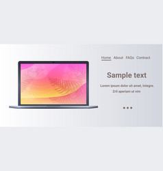 laptop with colored screen realistic mockup vector image