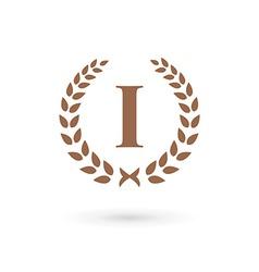 Letter I number one 1 laurel wreath logo icon vector