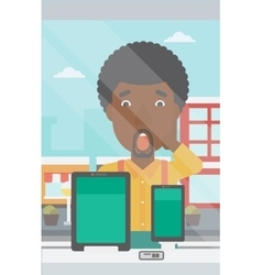 Man looking at digital tablet and smartphone vector