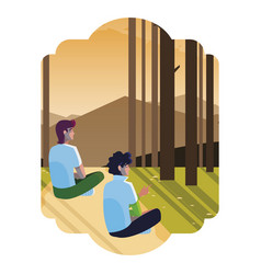 Men couple contemplating horizon in forest vector