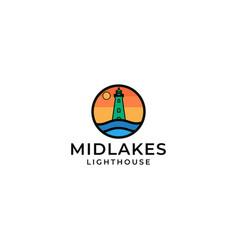 midlakes lighthouse logo design vector image