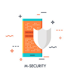 mobile security flat concept vector image