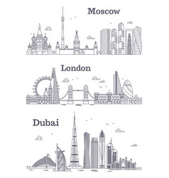Moscow london dubai linear landmark vector