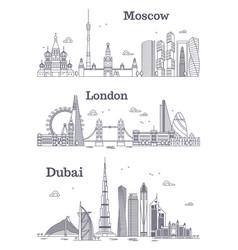 moscow london dubai linear landmark vector image