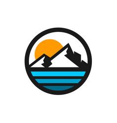 mountain and beach modern logo vector image