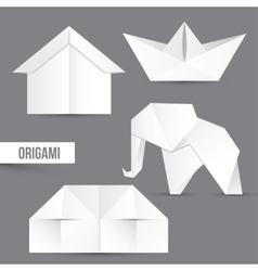 Origami set house ship and elephant vector