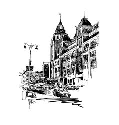Original black and white digital sketch of Kyiv vector