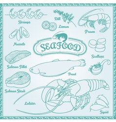 Outline Seafood Set vector
