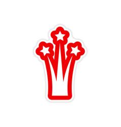 Paper sticker on white background salute stars vector
