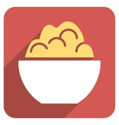 Porridge Bowl Flat Rounded Square Icon with Long vector