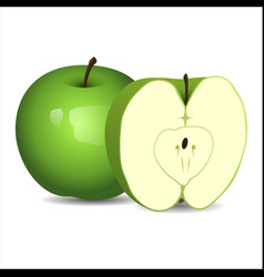 realistic fresh green apple isolated on white vector image