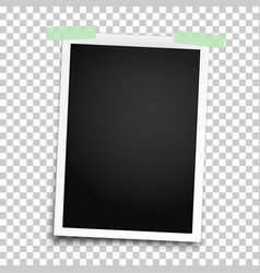 realistic photo frame with straight edges vector image