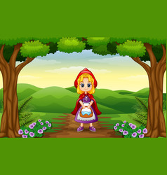 red hooded girl are in the village at forest vector image