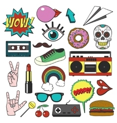 Retro patch badges set Collection of cartoon vector image