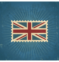 Retro United Kingdom Flag Postage Stamp vector image