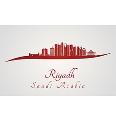 Riyadh V2 skyline in red vector image