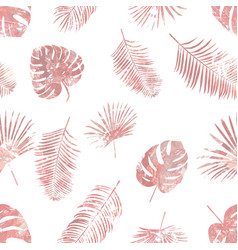 Rose gold tropical palm leaves seamless pattern vector