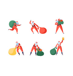 santa claus cartoon set santa with gifts flat vector image