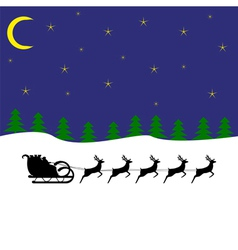 Santa claus rides on deer in the woods at night vector
