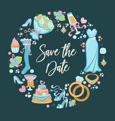 save date wedding invitation with symbols vector image