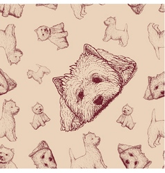 Seamless pattern with brown dogs vector