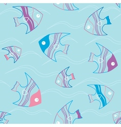 Seamless pattern with fish and waves vector image
