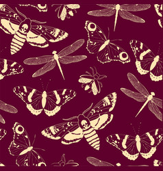 Seamless pattern with light yellow insects vector