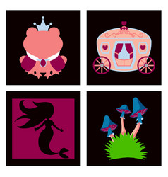 Set icons in princces theme include frog vector