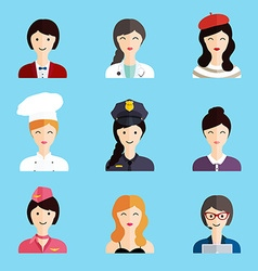 Set of colorful profession woman flat style icons vector image vector image