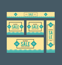 set of cute yellow and blue framed sale web vector image